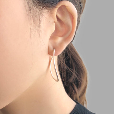 Unbalanced Circle Sliver Loop Earrings