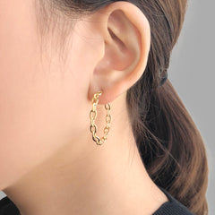 Oval Chain Circle Gold Loop Earrings
