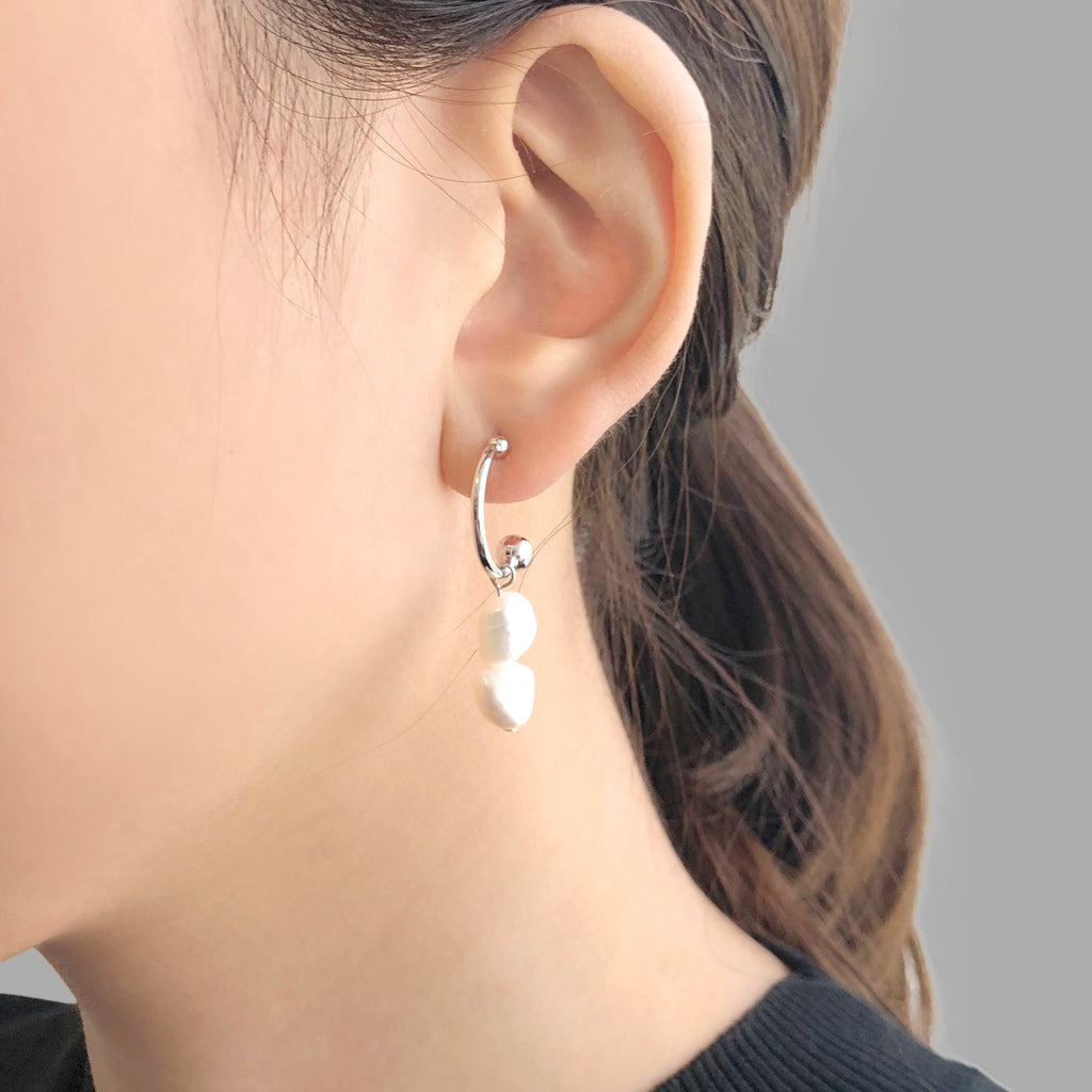 Semicircle With Trio Pearl Sliver Pierced Earrings