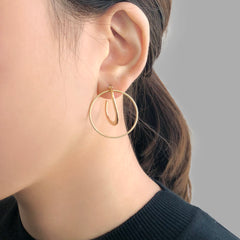 Duo Thick & Thin Circle Gold Pierced Earrings