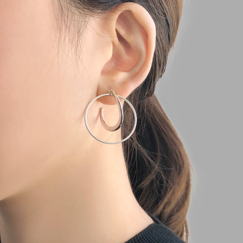 Duo Thick & Thin Circle Sliver Pierced Earrings