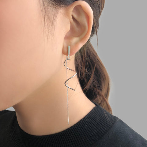 Curve Ribbon With Chain Sliver Pierced Earrings