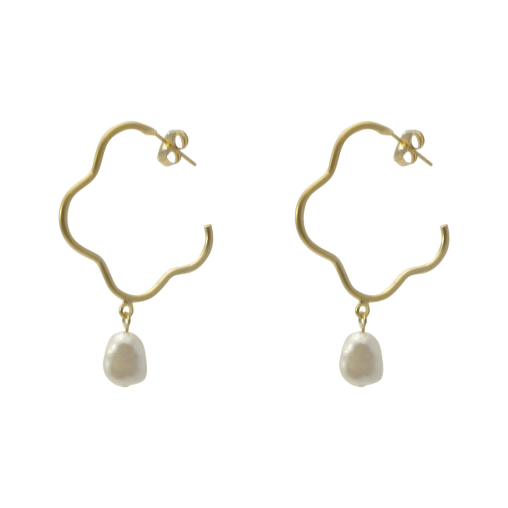 Pearl With Flower Shape Gold Loop Earrings