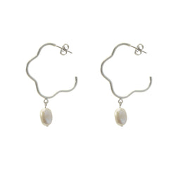 Pearl With Flower Shape Sliver Loop Earrings