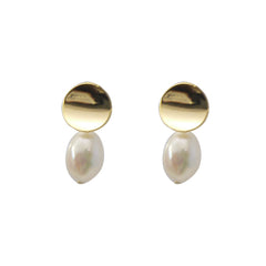 Bean With Pearl Gold Pierced Earrings