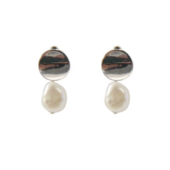 Bean With Pearl Sliver Pierced Earrings