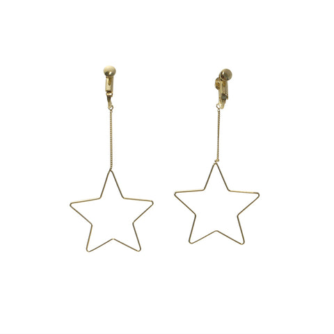 Big Cutout Star Gold Ear Clips