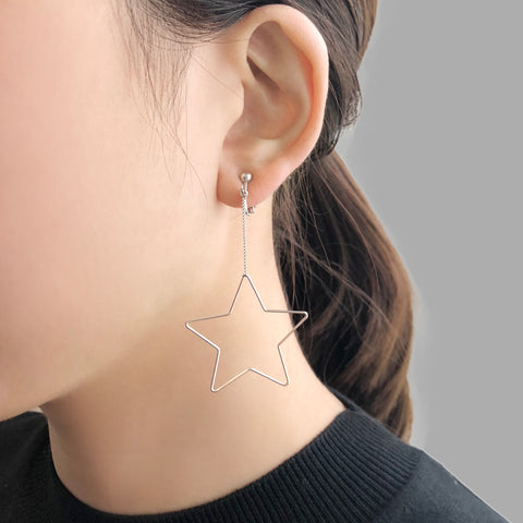 Big Cutout Star Sliver Ear Clips
