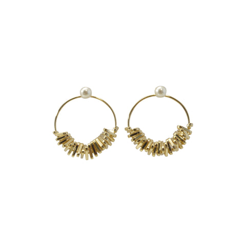 Cutout Circle Gold Sparkle Pierced Earrings
