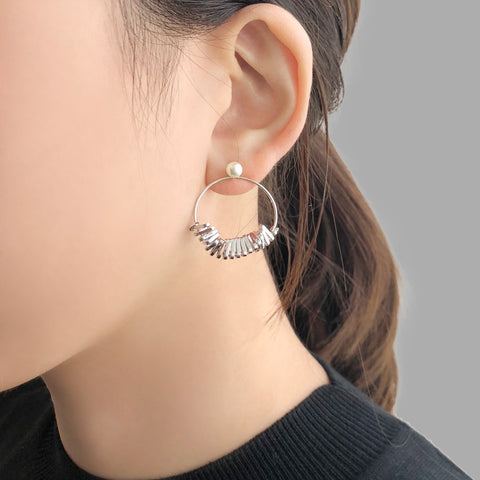 Cutout Circle Sliver Sparkle Pierced Earrings