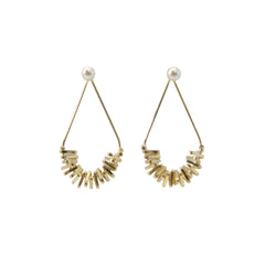 Cutout Waterdrop Gold Sparkle Pierced Earrings