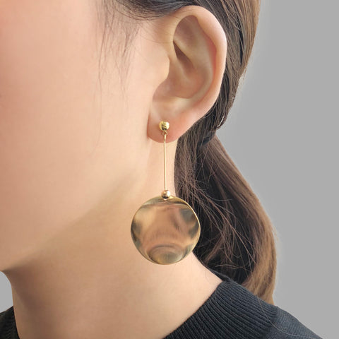 Big Mirror Circle Gold Pierced Earrings