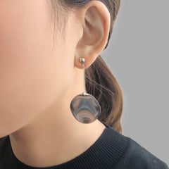 Big Mirror Circle Sliver Pierced Earrings