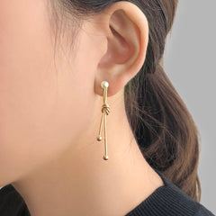 Duo Fixed Line With Pearl Gold Studs