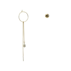 Cutout Gold Circle With Pearl Chain Earring & Stud