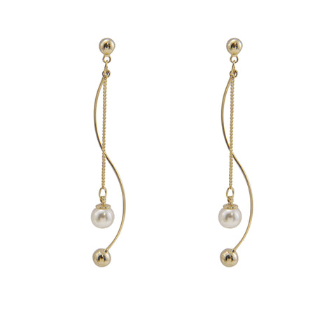 Curved Bar With Chain Pearl Gold Pierced Earrings