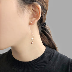 Curved Bar With Chain Pearl Rose Gold Pierced Earrings