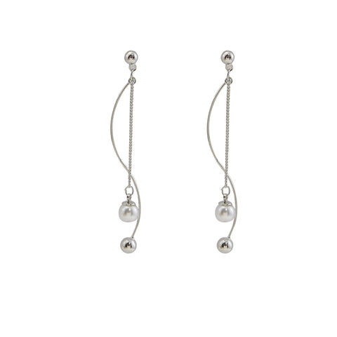 Curved Bar With Chain Pearl Sliver Pierced Earrings