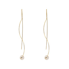 Pearl With Curved Bar Gold Pull-Thru Earrings