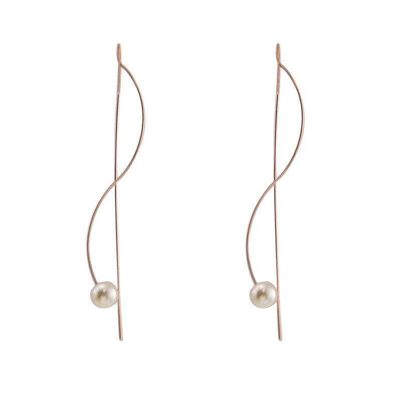 Pearl With Curved Bar Rose Gold Pull-Thru Earrings