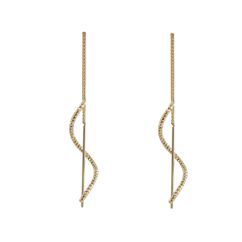 Simple Curved Bar Pull-Thru Earrings