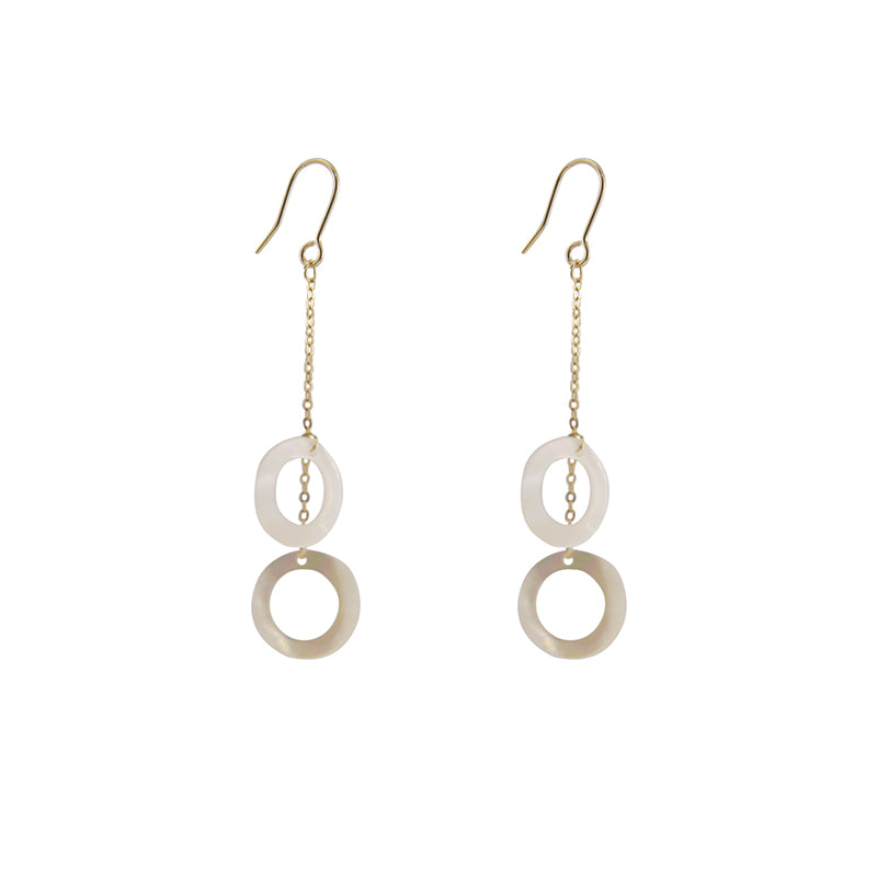 Mother of Pearl Duo Circle Gold Earrings
