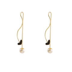 Heart With Pearl Gold Pull-Thru Earrings