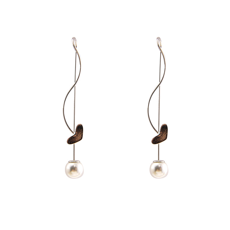 Heart With Pearl Sliver Pull-Thru Earrings