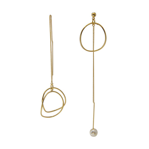 Cutout Circle Gold Pull-Thru Earrings