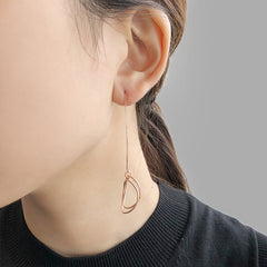 Cutout Circle Rose Gold Pull-Thru Earrings