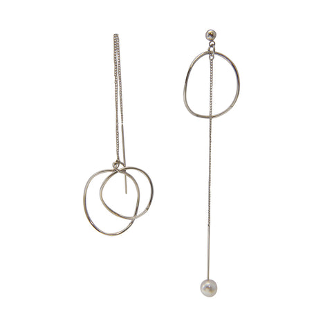 Cutout Circle Silver Pull-Thru Earrings
