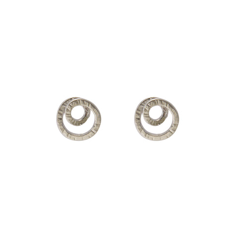 Double Circle Silver Pierced Earrings