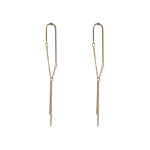 Lock shape Gold Pull-Thru Earrings