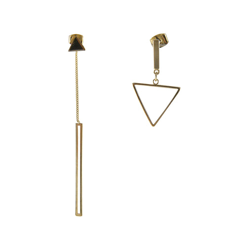 Irregular Cutout and Triangle Gold Pull-Thru Earrings