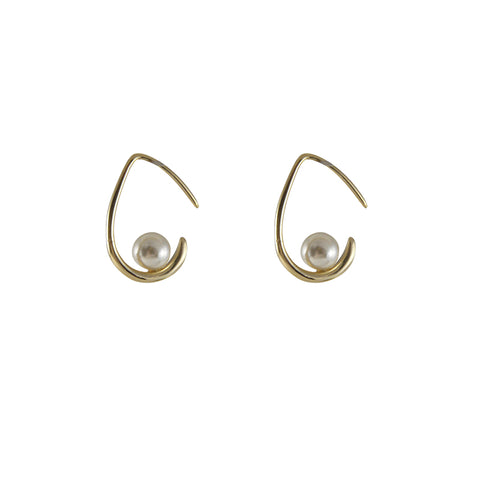 Waterdrop with Pearl Gold Studs