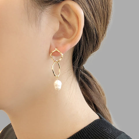 Irregular double Cutout Shape with Pearl Gold Pull-Thru Earrings