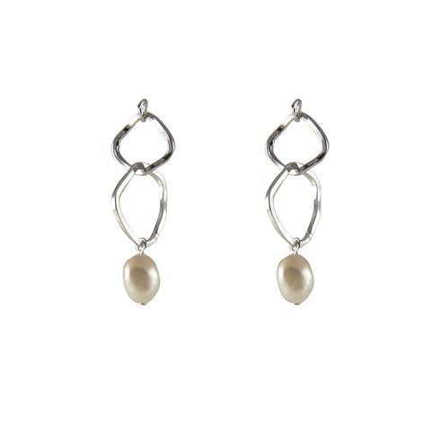 Irregular double Cutout Shape with Pearl Silver Pull-Thru Earrings
