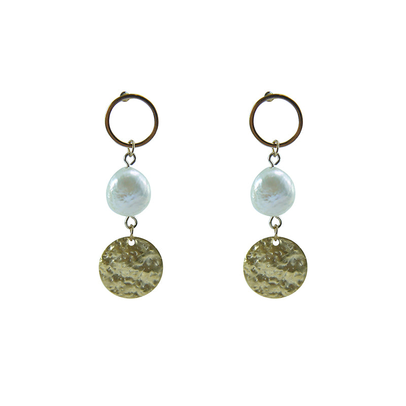 Circle ring with Pearl Gold Pull - Thru Earrings
