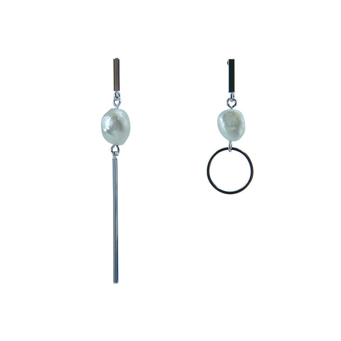 Irregular Cutout and circle Silver Pull-Thru Earrings