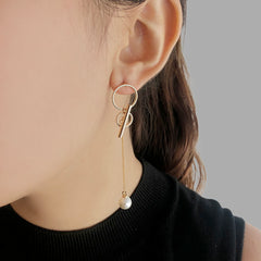Circle ring with Pearl Gold Long Pull - Thru Earrings