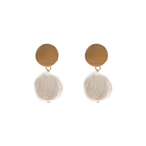 Circle Chip and Pearl Gold Studs