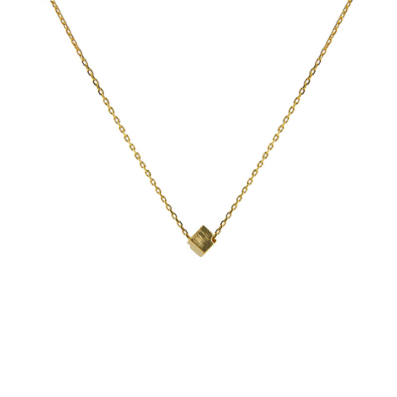 Solid Cube Gold Short Necklace