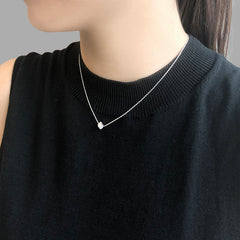 Solid Cube Silver Short Necklace