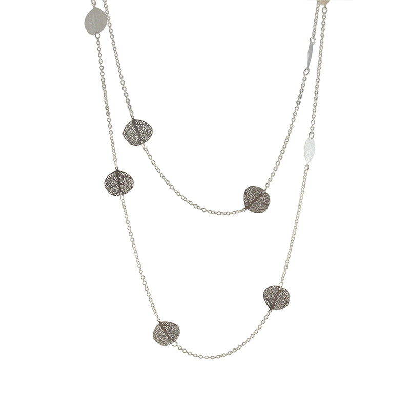 Duo Layer Of Small Orbicular Silver Long Necklace