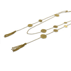Duo Layer Of Big Orbicular With Tassel Gold Long Necklace