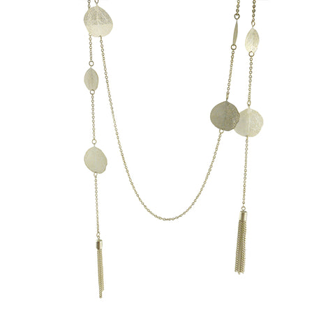 Duo Layer Of Big Orbicular with Tassel Silver Long Necklace