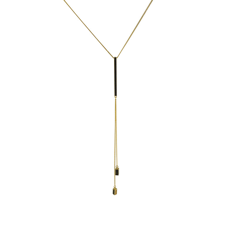 Long Bar With 2 Chain Bar Gold Long Necklace