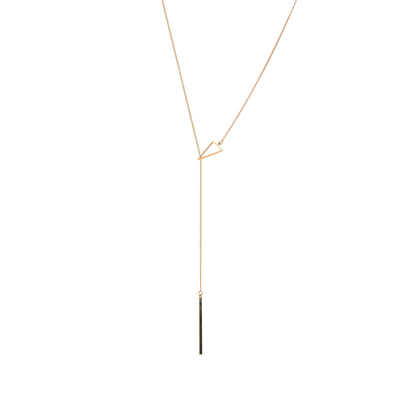 Cutout Triangle & Long Bar Rose Gold Adjustable Necklace
