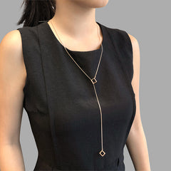 Duo Cutout Cube Adjustable Rose Gold Long Necklace