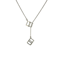 Duo Cutout Cube Adjustable Silver Long Necklace